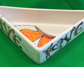 Hand Painted Triangle Serving Dish