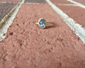 Aquamarine March Birthstone 10k Gold Ring