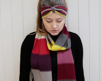 Handmade Multi Coloured Knitted Stripe Scarf and Headband Gift Set made from 100% Wool