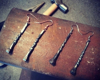 Hand Forged Earrings Made From Upcycled Nails