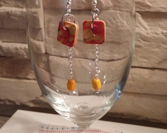 Square button earrings