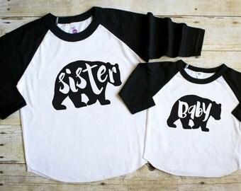 Sibling Shirt Set - Sister Bear Shirt - Big Sister Shirts - Baby Bear Shirt - Pregnancy Announcement Shirts - Baby Sister Brother Shirts