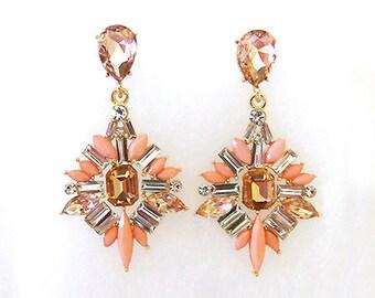 VanGarden DELPHINE Drop Earrings in Tangerine