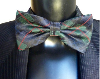 Bow tie Plaid - dark green bowtie - bowtie - 90s