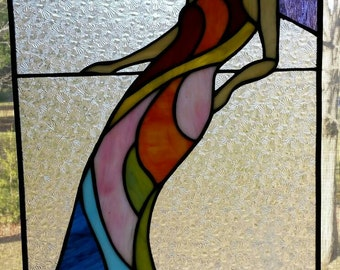 Colorful Art Deco Stained Glass Woman Panel, rainbow glass art