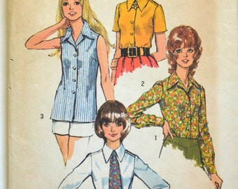 Uncut 1970s Simplicity Vintage Sewing Pattern 5022, Size 14; Misses' and Women's Set of Blouses and Tie