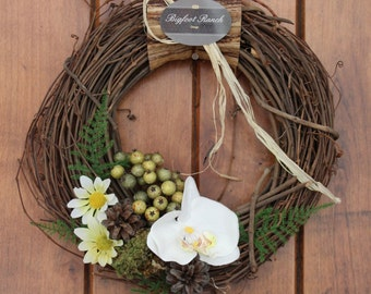 door wreath, spring wreath, small wreath, 12 inch wreath, hydrangea wreath, white wreath
