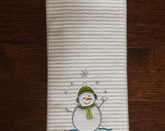 South African tea towel -  Geseende Kersfees - snowman applique