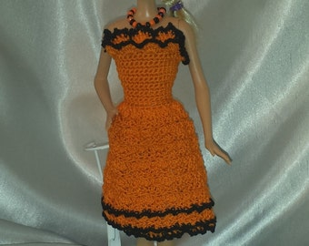 """Halloween Dress & Necklace For Your Barbie or Fashion Doll 11 1/2"""", Orange and Black Hand Crocheted Dress"""
