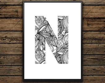 Premium Poster N Letter - Scandinavian Style - Wall decoration - Typographic Design - Black and White Poster - ideal for Gift