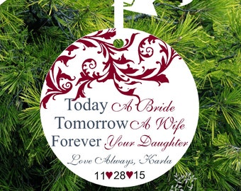 Treasure Today A Bride, Tomorrow A Wife, Forever Your Daughter Personalized Porcelain Christmas Ornament - Item# FT05 - lovebirdschristmas