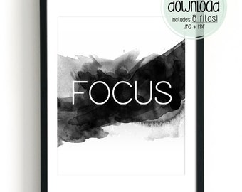 Focus Wall Art Motivational Wall Decor Quotes Printable Word Art Print Black and White Prints Modern Minimalist Poster Office Decor Download