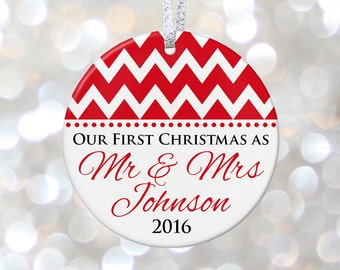 Our First Christmas Married Mr & Mrs Personalized Christmas Ornament Wedding Shower Gift Just Married Gift Bride and Groom Gift