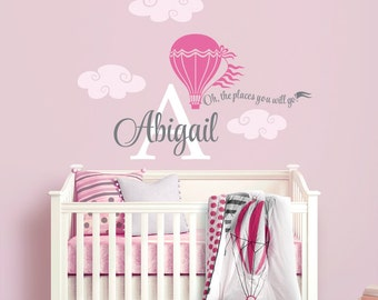 Hot Air Balloon  Personalized Name Custom Initial Monogram Wall Decal Sticker for Nursery, Girl's Room or Playroom