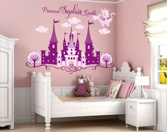 Princess Castle Personalized Name Decal, Nursery Decal, Girl's Room Decal, Castle Wall Sticker, Disney Castle