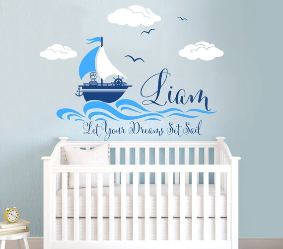 nautical themed personalized custom name vinyl wall decal. Black Bedroom Furniture Sets. Home Design Ideas