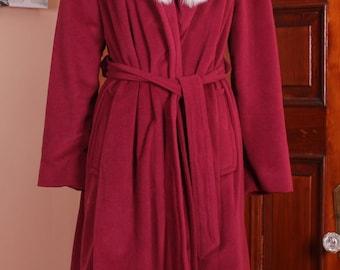 Vintage Wundamere Dark Red Belted Robe Coat Lush Classic Fox Fur Collar