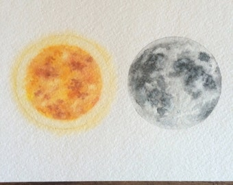 Sun and moon original watercolor painting