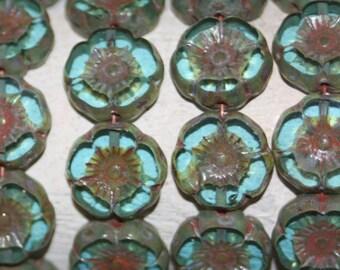 Czech Flower 12mm 12 Beads