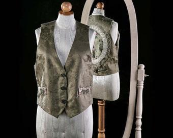 New Khaki Damask Textile Vest with Lace Applique Back- Small