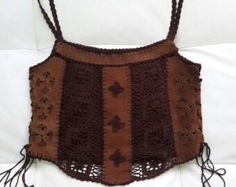 KAREN MILLEN Brown Real Leather Croched Crop Top
