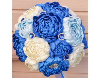 Brooch bouquet, blue, ivory. Wedding Bouquet, Unique, Fabric Flower, Bridal Bouquet. Peonies of satin ribbons