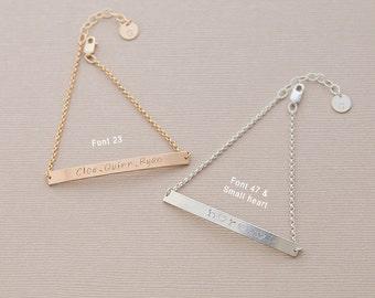 Bar bracelet, sterling silver or gold filled, 4mm bar
