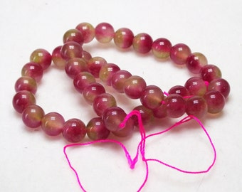 "15"" Strand 10mm Natural Stone Rose Green Malaysia Jade Round Beads"
