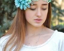 Floral crown Delicate light Mint flower wreath Aqua Bridal flower crown Wedding mint headpiece Turquoise flower crown Floral hair accessory