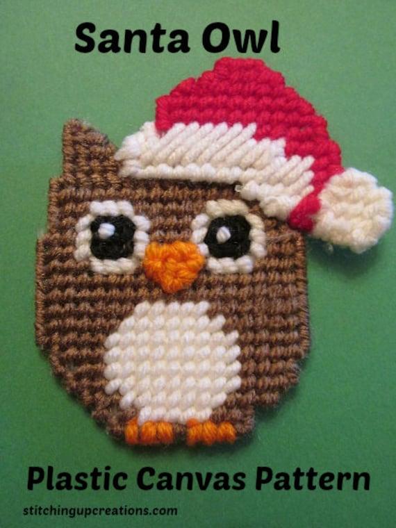 Owl Plastic Canvas Pattern Santa Owl Magnet Or Christmas