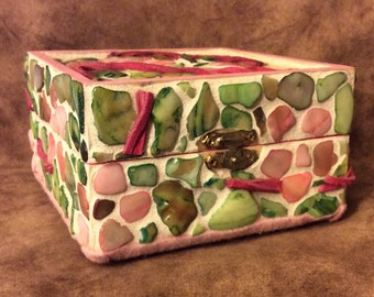 Bright Floral Mother of Pearl Trinket Box