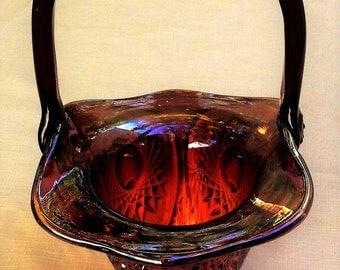 Vintage Indiana Glass ~Heirloom Carnival~ Red Footed Basket