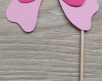 Bow cupcake toppers, 12 Pink Baby Shower toppers, First Birthday, Gender Reveal,  1st birthday, kids birthday, Wedding, Bridal Shower