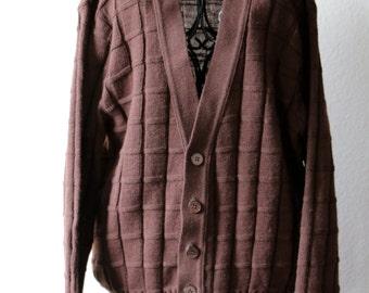 Vintage Brown Cardigan, Boyfriend Sweater, Vintage Sweater