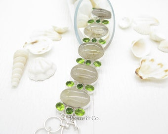 Rutilated Quartz and Peridot Sterling Silver Bracelet