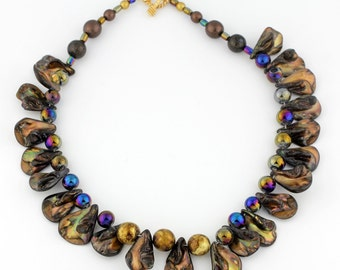 ON SALE- Golden Brown Shell Looking Petal Necklace, Iridescent Glass Beads with Gold Accents. MN1337