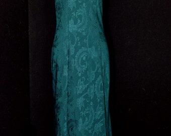 Vintage Victoria's Secret Green Nightgown 80's Jacquard Size Small