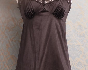 Vintage Lace Black Camisole from Vanity Fair Size 32, Antron Nylon