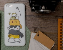 iPhone 6 Case iPhone Case 6s iPhone case 6 iPhone SE + free shipping - Pyramid of Cats - White Case - ultra slim - fun and cute - matte