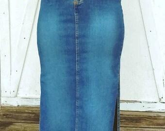 Vintage Denim Skirt by Lucaya Jeans Pencil Skir with high slit Maxi Skirt