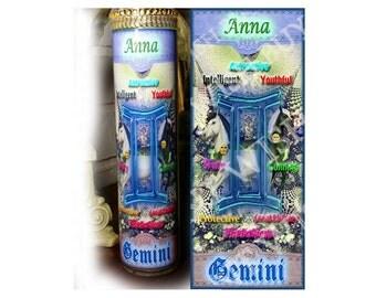 "Personalized Horoscope Zodiac Prayer Candle - 8"" - GEMINI"