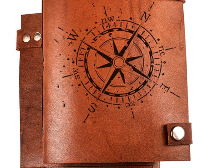 Personalized journal - Custom Leather Journal - Custom Sketchbook - Leather Notebook any engraving - Compass notebook - Compass journal
