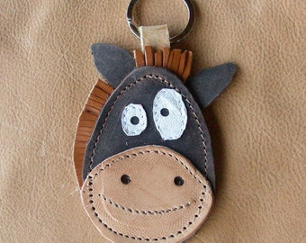 Leather handmade key chain HORSE