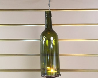 Wine bottle lantern- olive green