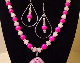 Pink Agate Beaded Necklace Set
