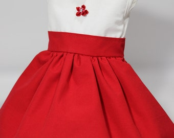 """Red and white doll dress for 18"""" doll"""