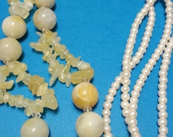 Calcilica, Golden Jade Chips & Creme Glass Pearls