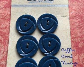 Vintage Blue Buttons on Card (6)