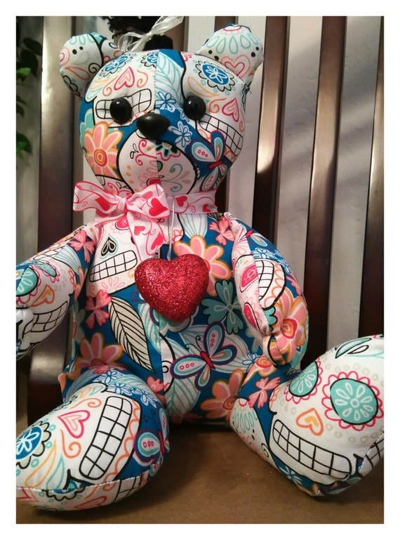 Sugar Skull Valentines Teddy Bear, Day of the Dead Bear, Sugar Skull Bear, #CatEncio, #SugarSkullFace