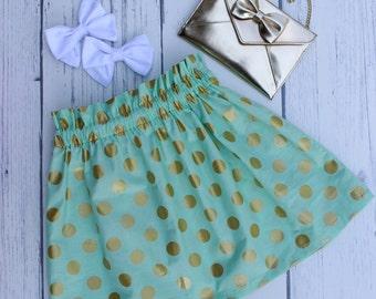 Metallic Glitz Ruffle Skirt - girls skirts, skirt, gold, mint, polka dot, cotton skirt